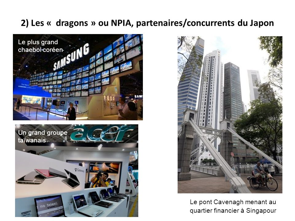 2) Les « dragons » ou NPIA, partenaires/concurrents du Japon Le pont Cavenagh menant au quartier financier à Singapour Le plus grand chaebol coréen Un