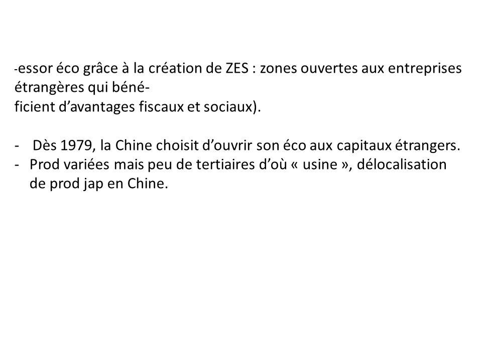 - essor éco grâce à la création de ZES : zones ouvertes aux entreprises étrangères qui béné- ficient davantages fiscaux et sociaux). -Dès 1979, la Chi