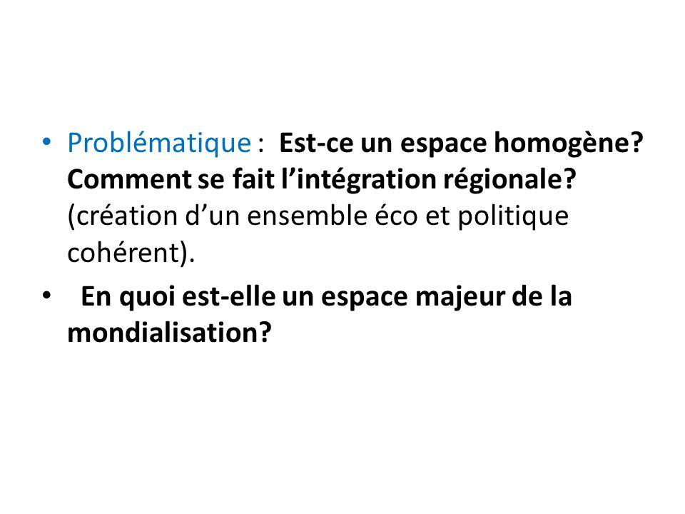 Problématique : Est-ce un espace homogène? Comment se fait lintégration régionale? (création dun ensemble éco et politique cohérent). En quoi est-elle