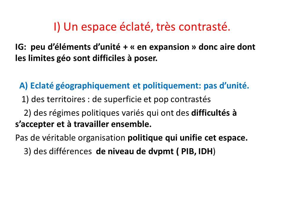 I) Un espace éclaté, très contrasté. IG: peu déléments dunité + « en expansion » donc aire dont les limites géo sont difficiles à poser. A) Eclaté géo
