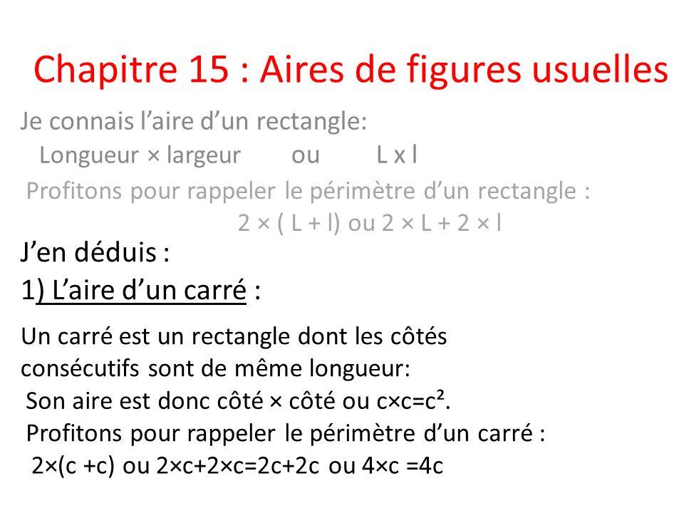 Chapitre 15 : Aires de figures usuelles Je connais laire dun rectangle: Longueur × largeur ou L x l Jen déduis : Un carré est un rectangle dont les cô