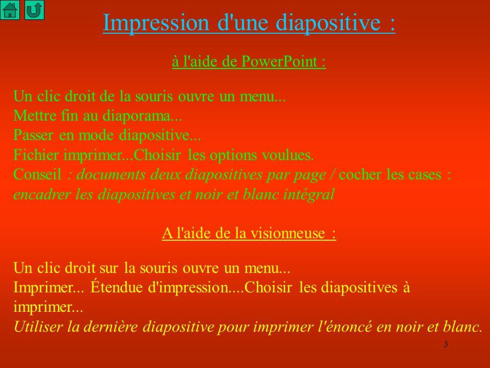 3 Impression d une diapositive : à l aide de PowerPoint : Un clic droit de la souris ouvre un menu...
