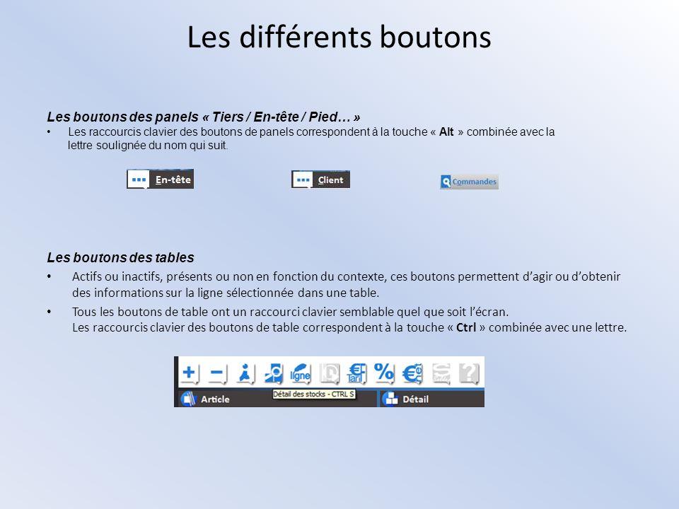 Les différents boutons Les boutons des panels « Tiers / En-tête / Pied… » Les raccourcis clavier des boutons de panels correspondent à la touche « Alt