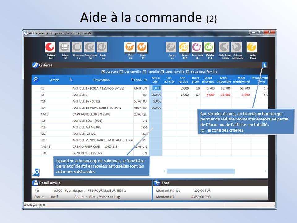 Aide à la commande (2) Sur certains écrans, on trouve un bouton qui permet de réduire momentanément une partie de lécran ou de lafficher en totalité.