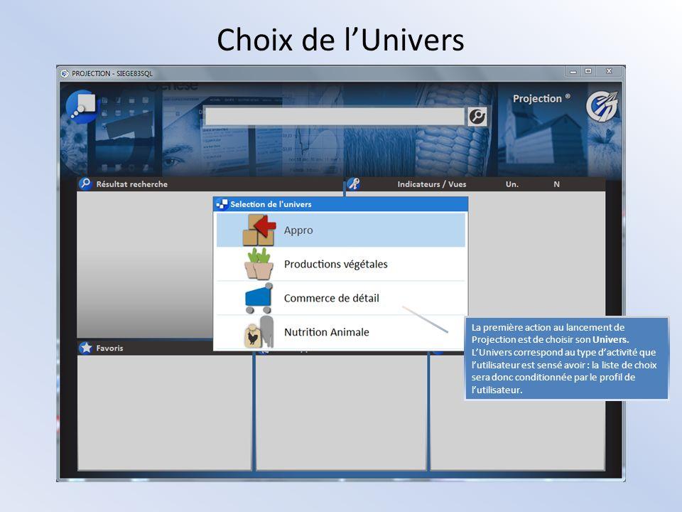 Choix de lUnivers La première action au lancement de Projection est de choisir son Univers. LUnivers correspond au type dactivité que lutilisateur est