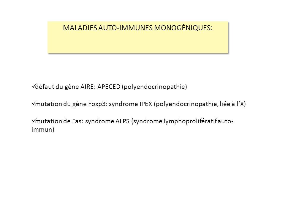 défaut du gène AIRE: APECED (polyendocrinopathie) mutation du gène Foxp3: syndrome IPEX (polyendocrinopathie, liée à lX) mutation de Fas: syndrome ALP