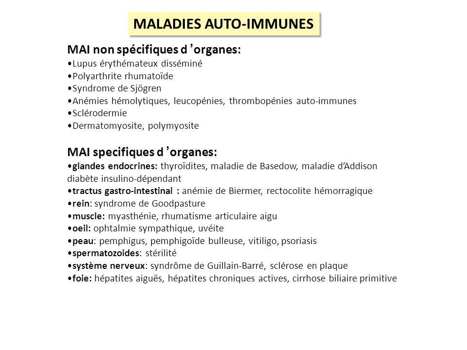 MAI non spécifiques d organes: Lupus érythémateux disséminé Polyarthrite rhumatoïde Syndrome de Sjögren Anémies hémolytiques, leucopénies, thrombopéni