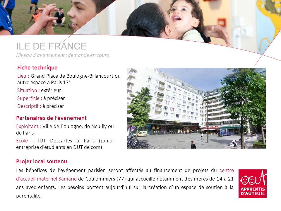 ILE DE FRANCE Niveau davancement : demande en cours Fiche technique Lieu : Grand Place de Boulogne-Billancourt ou autre espace à Paris 17 e Situation