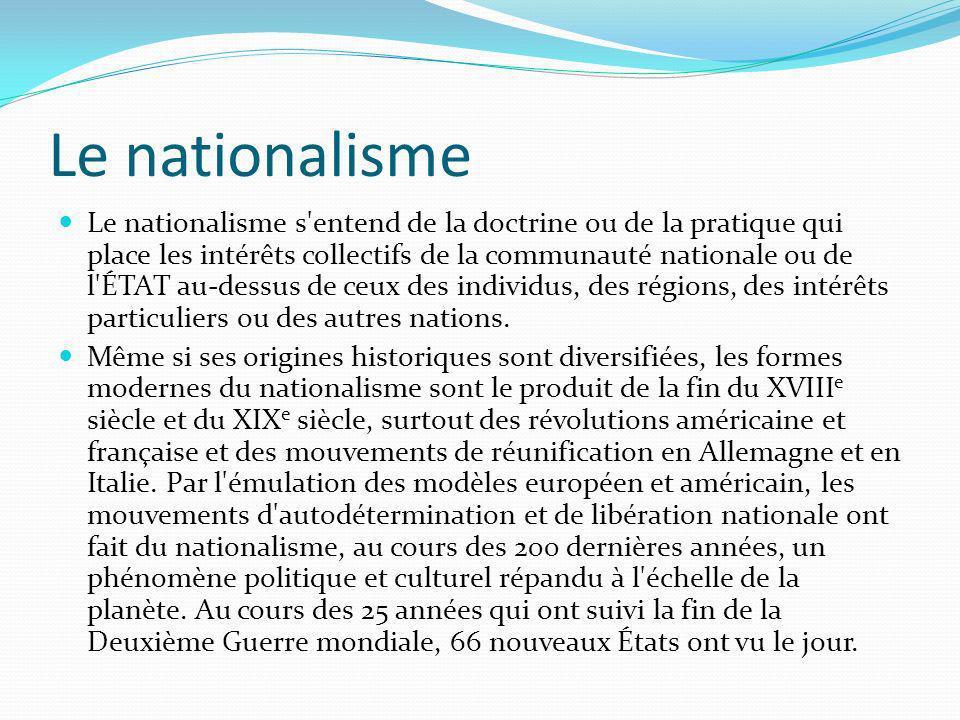 Le nationalisme Le nationalisme s'entend de la doctrine ou de la pratique qui place les intérêts collectifs de la communauté nationale ou de l'ÉTAT au