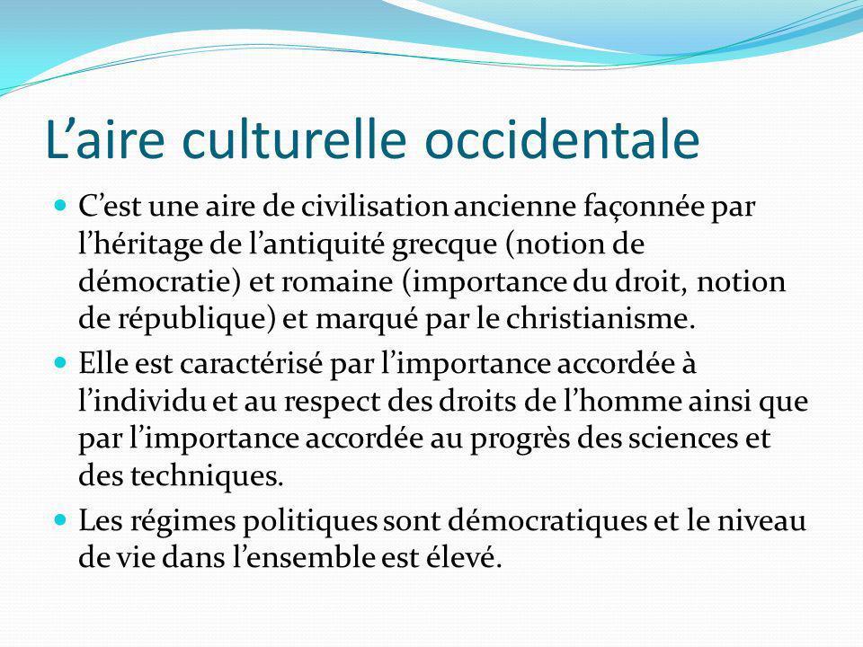 Laire culturelle occidentale Cest une aire de civilisation ancienne façonnée par lhéritage de lantiquité grecque (notion de démocratie) et romaine (im