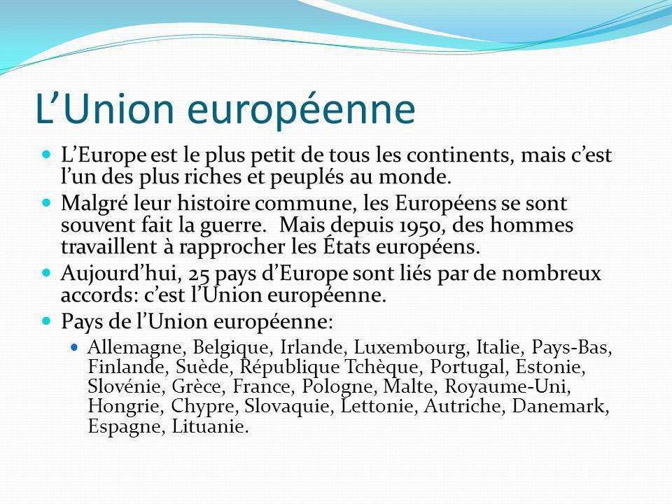 LUnion européenne LEurope est le plus petit de tous les continents, mais cest lun des plus riches et peuplés au monde. Malgré leur histoire commune, l
