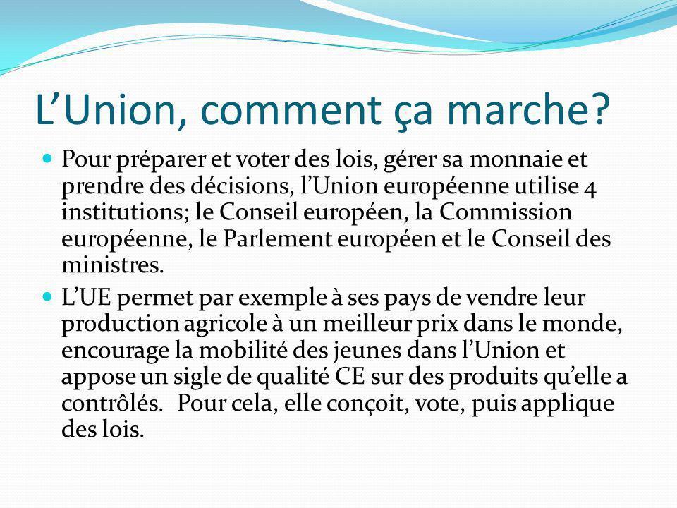 LUnion, comment ça marche? Pour préparer et voter des lois, gérer sa monnaie et prendre des décisions, lUnion européenne utilise 4 institutions; le Co