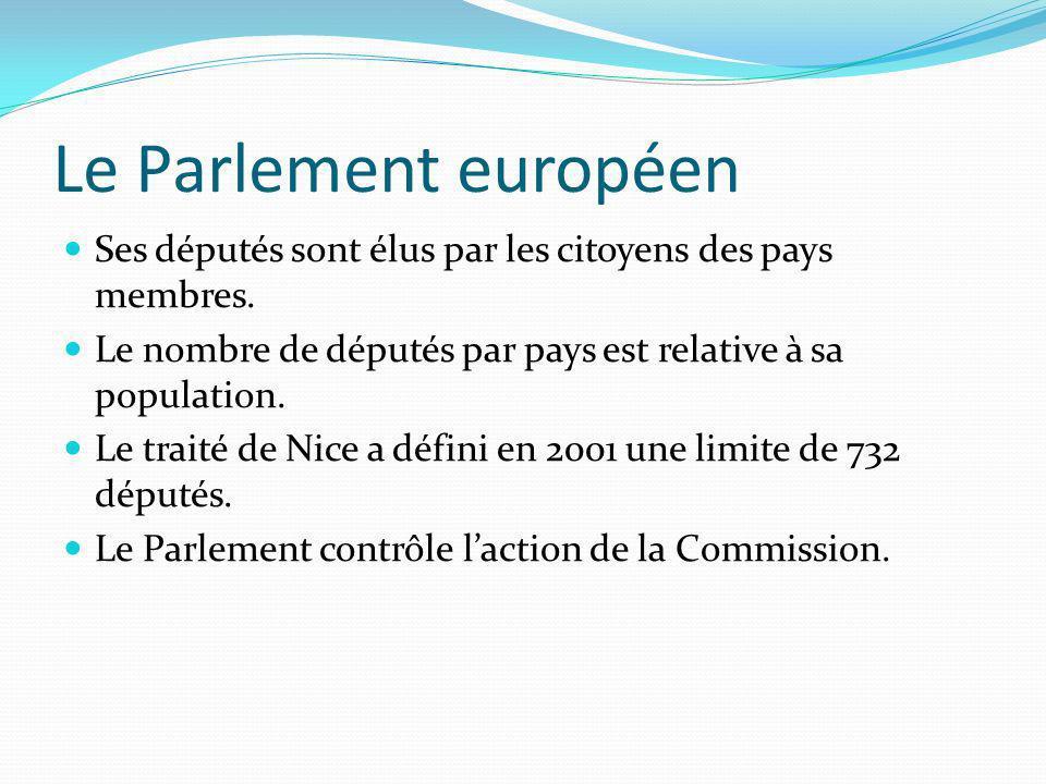 Le Parlement européen Ses députés sont élus par les citoyens des pays membres. Le nombre de députés par pays est relative à sa population. Le traité d