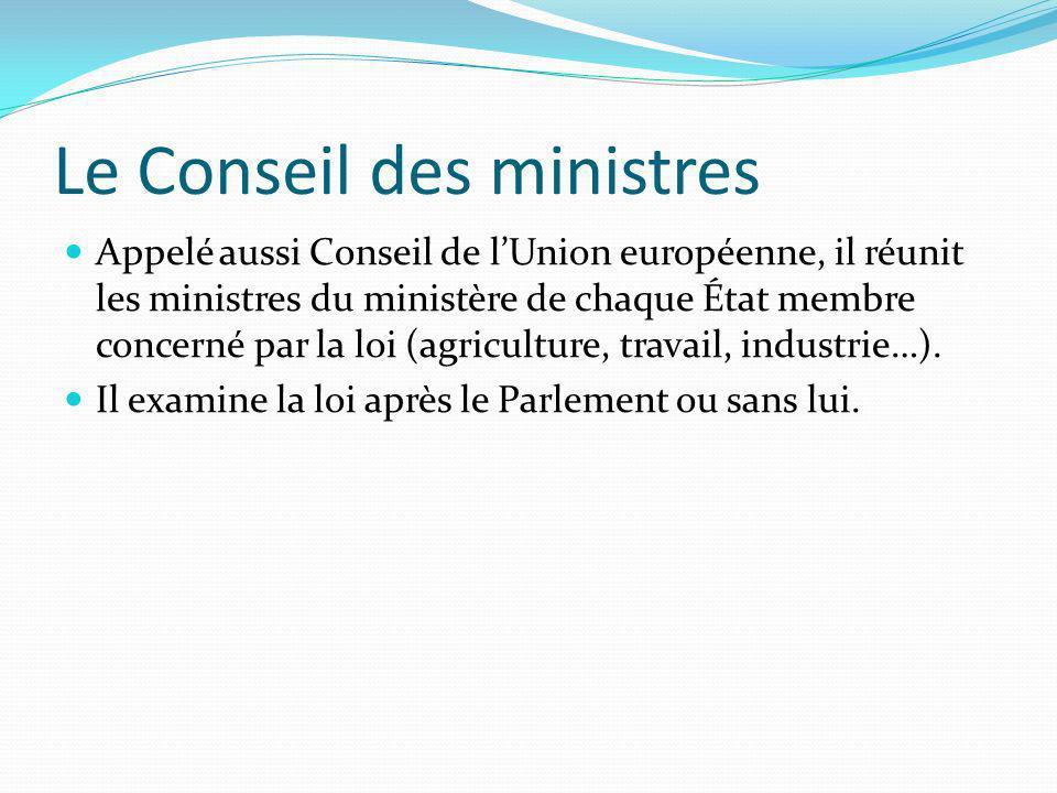 Le Conseil des ministres Appelé aussi Conseil de lUnion européenne, il réunit les ministres du ministère de chaque État membre concerné par la loi (ag