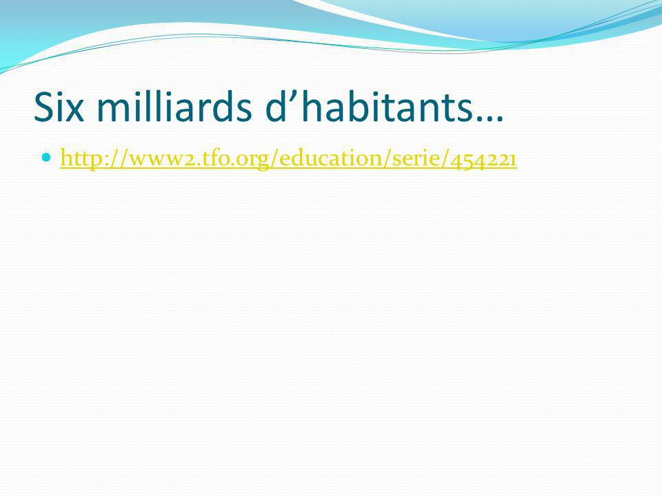 Six milliards dhabitants… http://www2.tfo.org/education/serie/454221