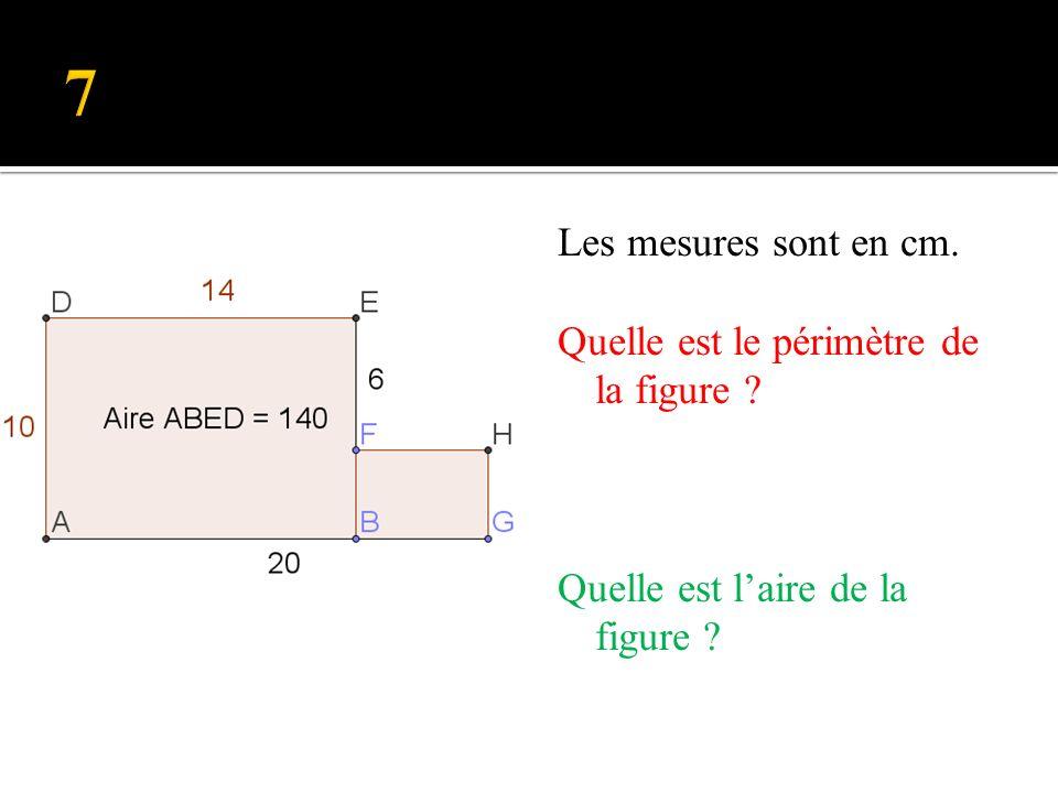 Les mesures sont en cm. Quelle est le périmètre de la figure ? Quelle est laire de la figure ?