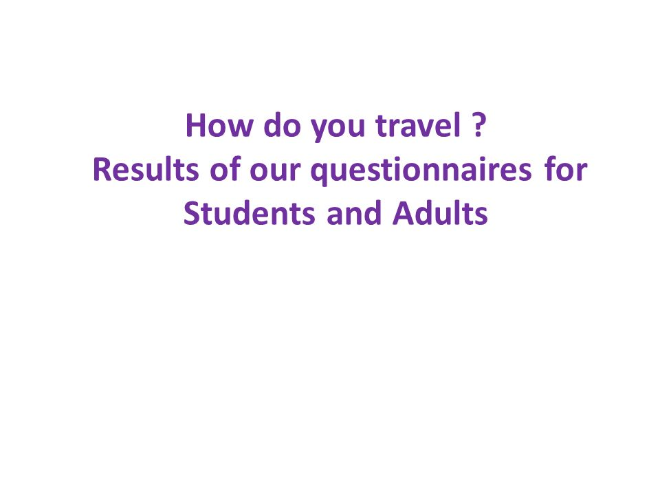 How do you travel ? Results of our questionnaires for Students and Adults