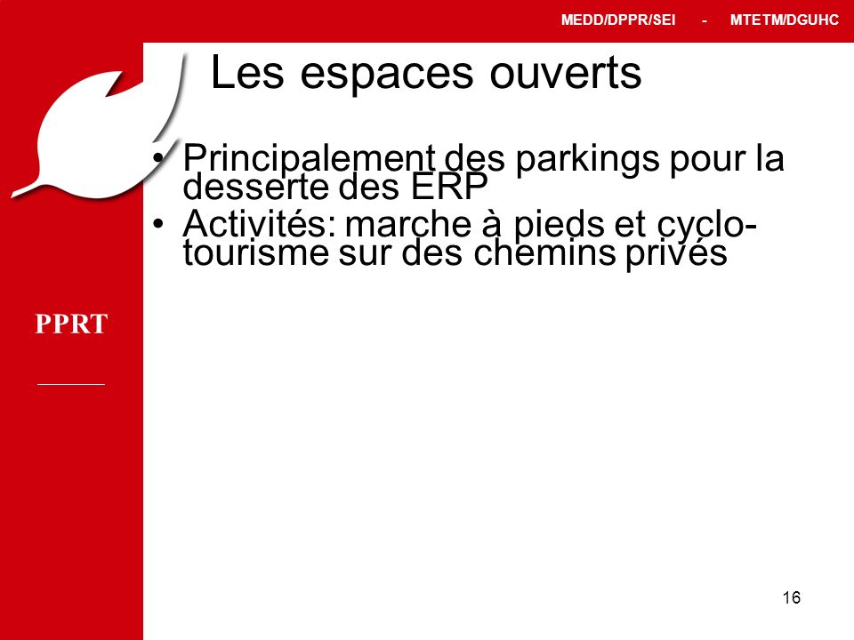 PPRT MEDD/DPPR/SEI - MTETM/DGUHC 16 Les espaces ouverts Principalement des parkings pour la desserte des ERP Activités: marche à pieds et cyclo- touri