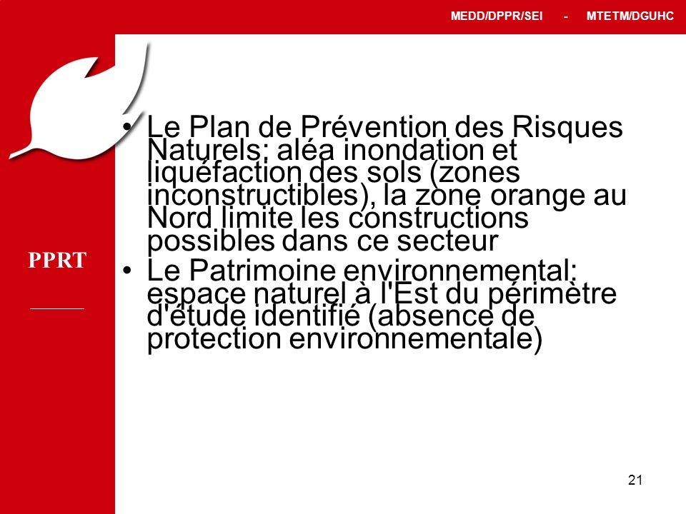 PPRT MEDD/DPPR/SEI - MTETM/DGUHC 21 Le Plan de Prévention des Risques Naturels: aléa inondation et liquéfaction des sols (zones inconstructibles), la