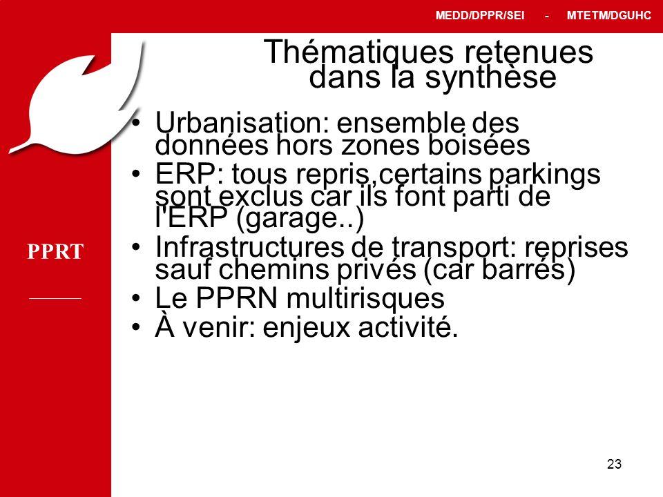 PPRT MEDD/DPPR/SEI - MTETM/DGUHC 23 Thématiques retenues dans la synthèse Urbanisation: ensemble des données hors zones boisées ERP: tous repris,certa