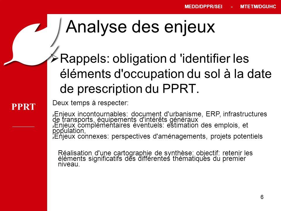 PPRT MEDD/DPPR/SEI - MTETM/DGUHC 6 Analyse des enjeux Rappels: obligation d 'identifier les éléments d'occupation du sol à la date de prescription du