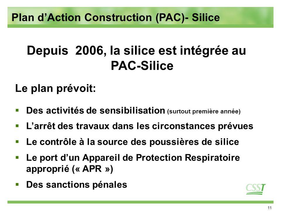 11 Depuis 2006, la silice est intégrée au PAC-Silice Le plan prévoit: Des activités de sensibilisation (surtout première année) Larrêt des travaux dans les circonstances prévues Le contrôle à la source des poussières de silice Le port dun Appareil de Protection Respiratoire approprié (« APR ») Des sanctions pénales Plan dAction Construction (PAC)- Silice