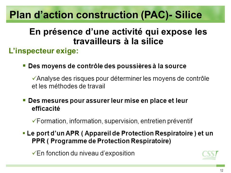12 Linspecteur exige: Des moyens de contrôle des poussières à la source Analyse des risques pour déterminer les moyens de contrôle et les méthodes de