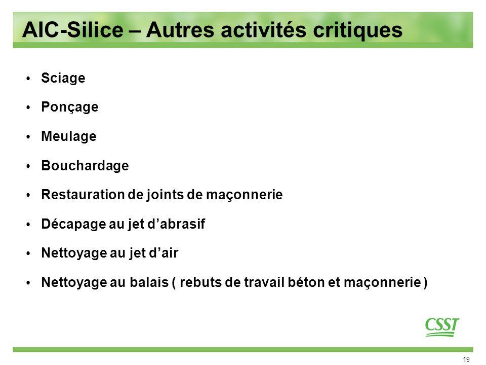 19 AIC-Silice – Autres activités critiques Sciage Ponçage Meulage Bouchardage Restauration de joints de maçonnerie Décapage au jet dabrasif Nettoyage