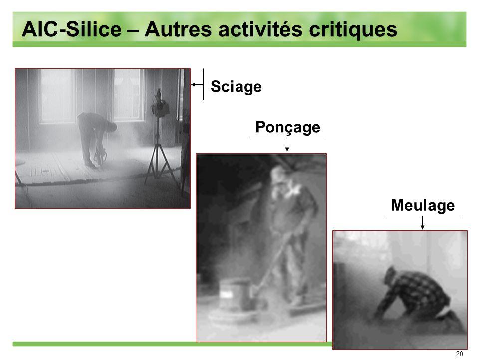 20 Meulage Ponçage Sciage AIC-Silice – Autres activités critiques