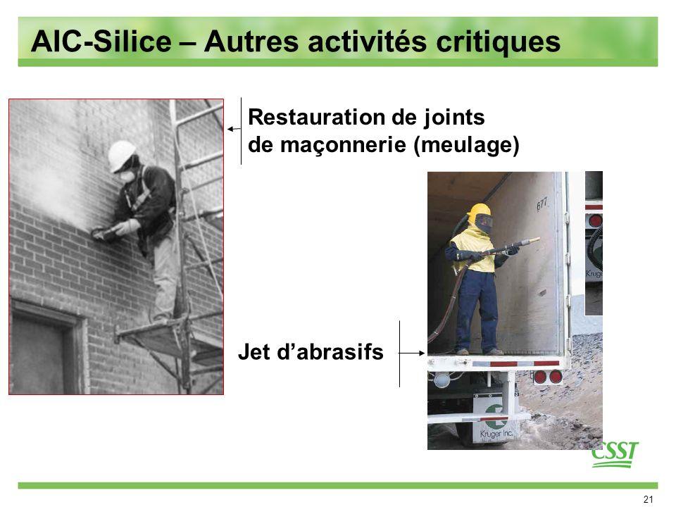 21 Restauration de joints de maçonnerie (meulage) Jet dabrasifs AIC-Silice – Autres activités critiques