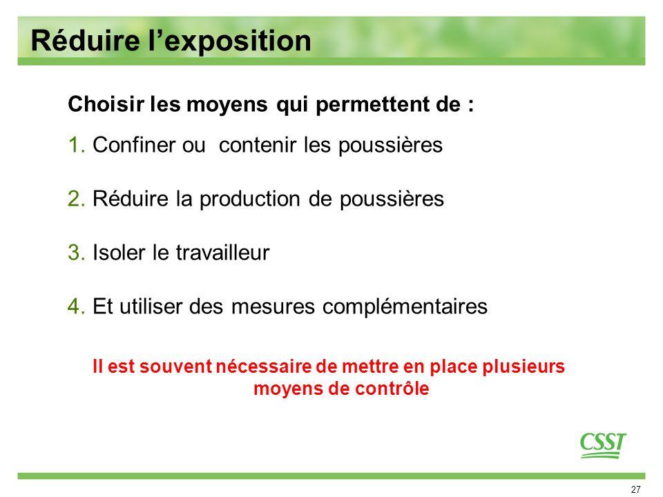 27 Réduire lexposition Choisir les moyens qui permettent de : 1.Confiner ou contenir les poussières 2.Réduire la production de poussières 3.Isoler le