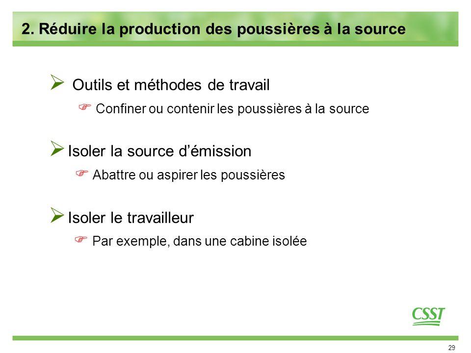 29 2. Réduire la production des poussières à la source Outils et méthodes de travail Confiner ou contenir les poussières à la source Isoler la source