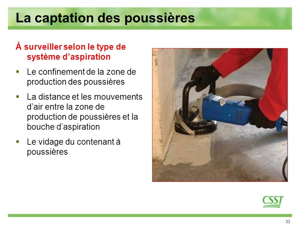 33 La captation des poussières À surveiller selon le type de système daspiration Le confinement de la zone de production des poussières La distance et