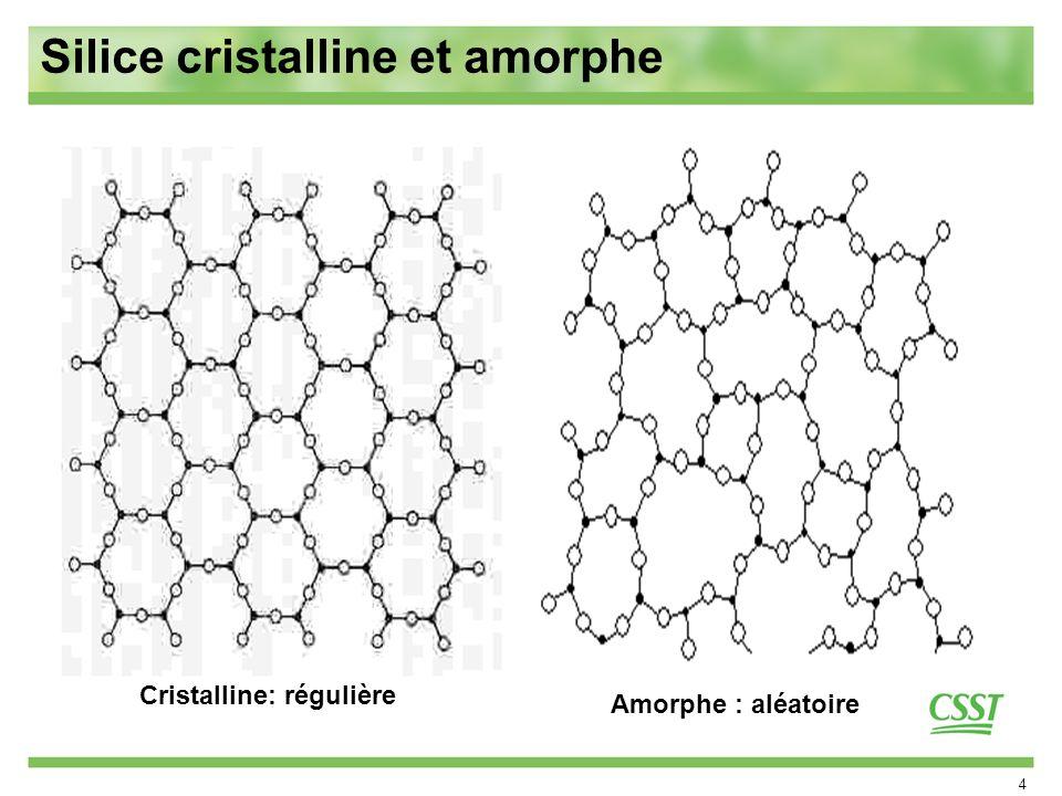 4 Silice cristalline et amorphe Cristalline: régulière Amorphe : aléatoire