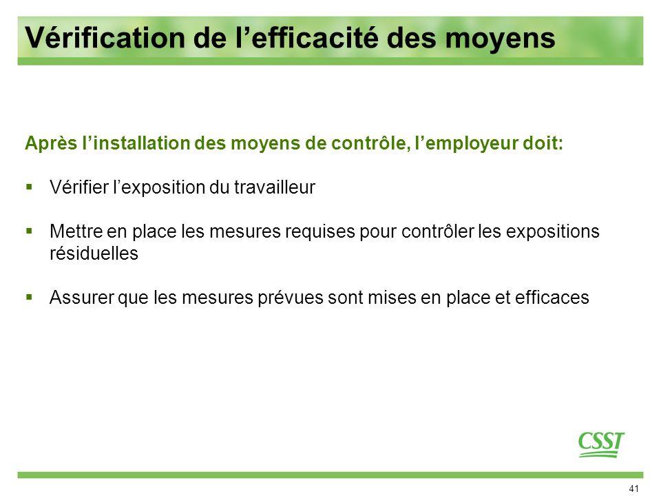 41 Vérification de lefficacité des moyens Après linstallation des moyens de contrôle, lemployeur doit: Vérifier lexposition du travailleur Mettre en p