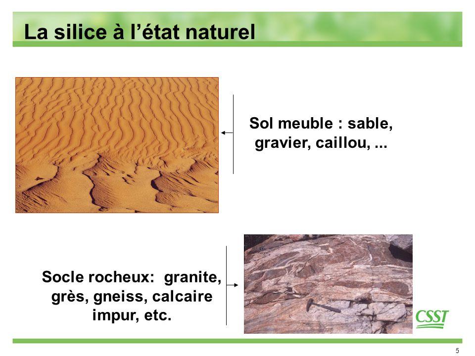 5 La silice à létat naturel Sol meuble : sable, gravier, caillou,... Socle rocheux: granite, grès, gneiss, calcaire impur, etc.