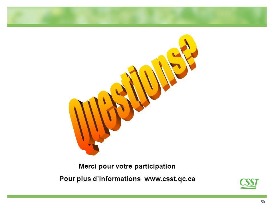 50 Merci pour votre participation Pour plus dinformations www.csst.qc.ca
