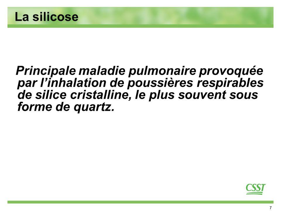 8 La silicose Distorsion de larchitecture pulmonaire Perte des unités fonctionnelles du poumon (alvéoles et capillaires) Diminution dapport en oxygène aux organes vitaux Silicose conglomérée Conséquences de la maladie