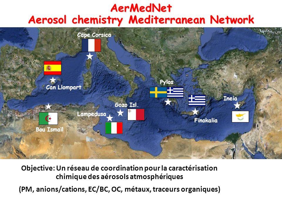 AerMedNet Aerosol chemistry Mediterranean Network Cape Corsica Lampedusa Bou Ismaïl Gozo Isl.