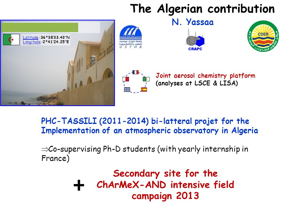 The Algerian contribution Joint aerosol chemistry platform (analyses at LSCE & LISA) N. Yassaa PHC-TASSILI (2011-2014) bi-latteral projet for the Impl