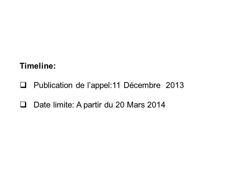 Timeline: Publication de lappel:11 Décembre 2013 Date limite: A partir du 20 Mars 2014