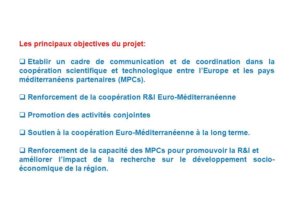 Les principaux objectives du projet: Etablir un cadre de communication et de coordination dans la coopération scientifique et technologique entre lEurope et les pays méditerranéens partenaires (MPCs).