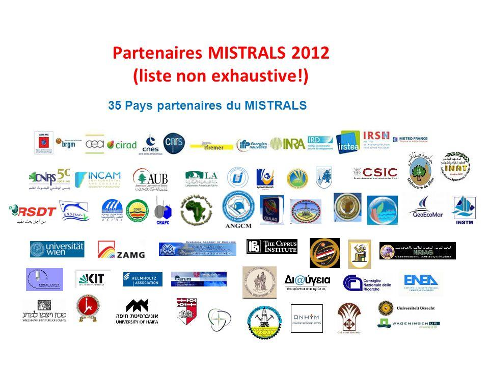 Partenaires MISTRALS 2012 (liste non exhaustive!) 35 Pays partenaires du MISTRALS