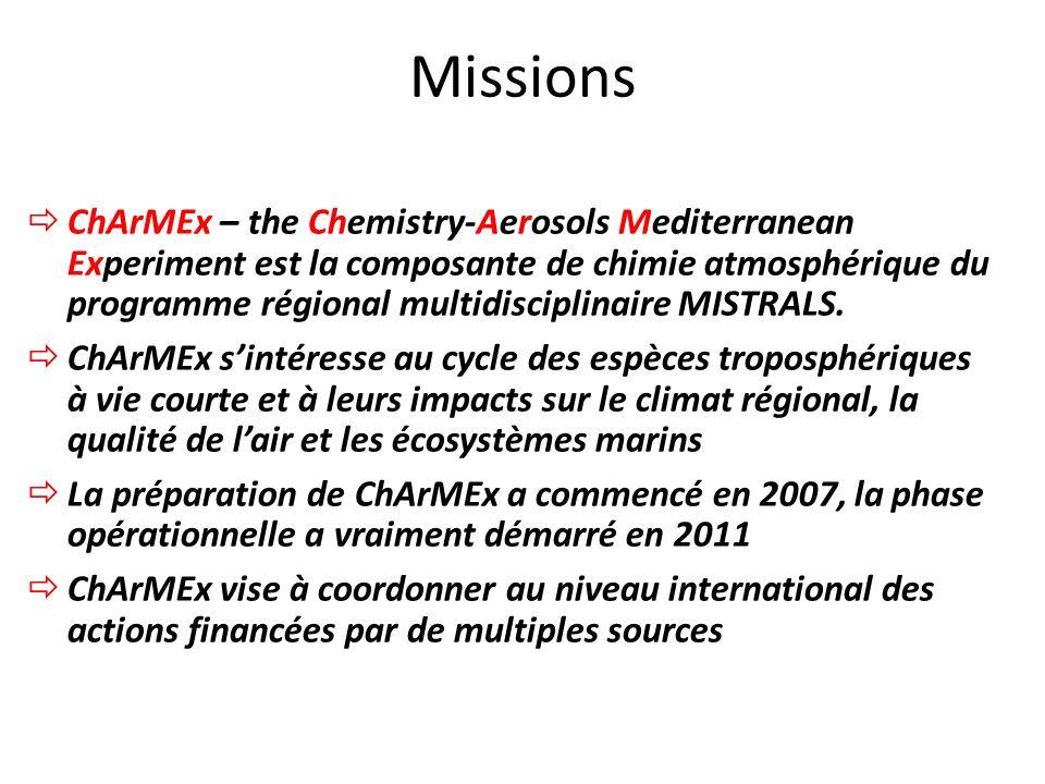 Missions ChArMEx – the Chemistry-Aerosols Mediterranean Experiment est la composante de chimie atmosphérique du programme régional multidisciplinaire MISTRALS.