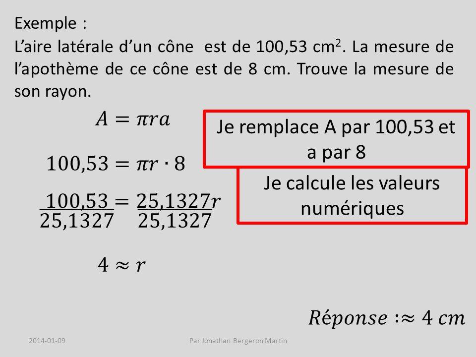Exemple : Quelle est la mesure du rayon dun ballon dont le volume est de 65,45 dm 3 .