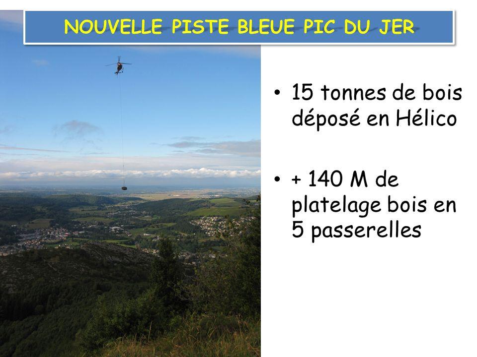 15 tonnes de bois déposé en Hélico + 140 M de platelage bois en 5 passerelles