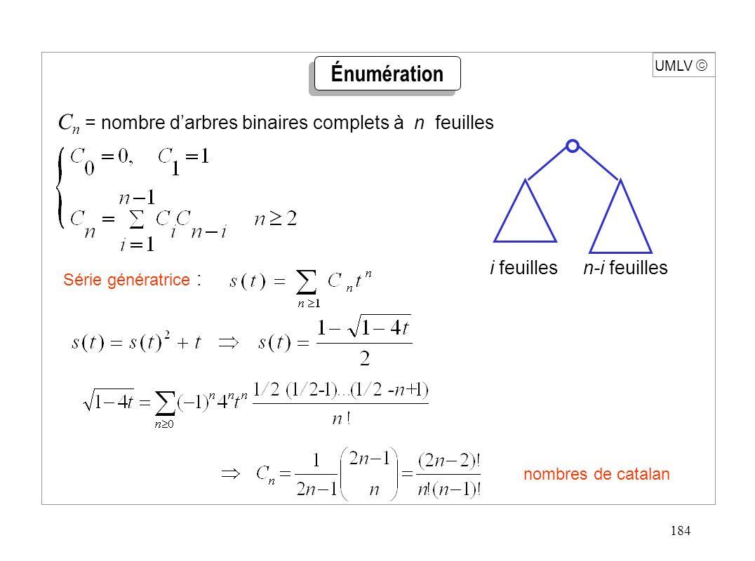 184 UMLV C n = nombre darbres binaires complets à n feuilles Série génératrice : nombres de catalan Énumération i feuilles n-i feuilles