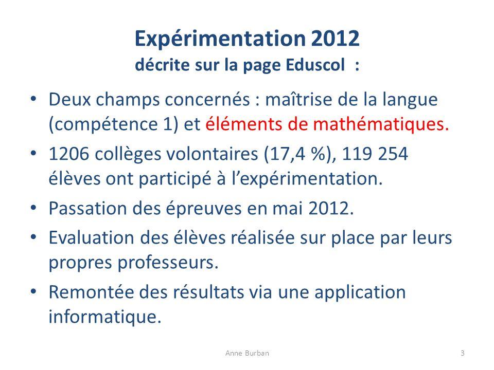 Expérimentation 2012 décrite sur la page Eduscol : Deux champs concernés : maîtrise de la langue (compétence 1) et éléments de mathématiques. 1206 col