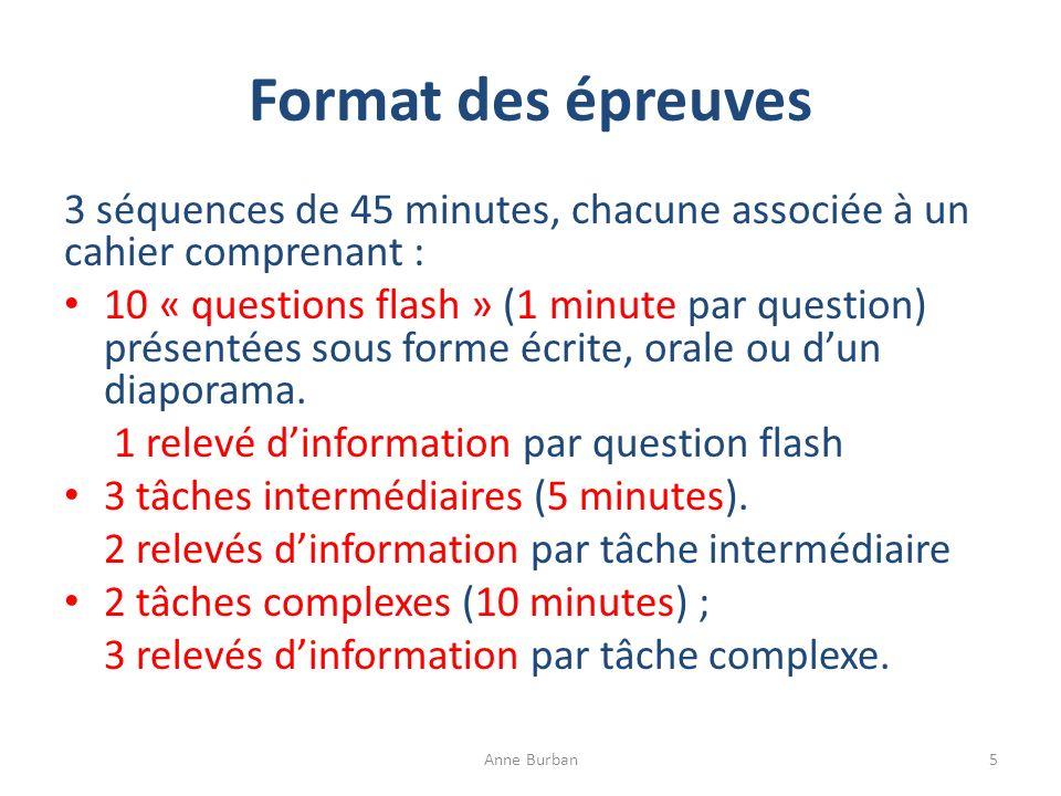 Format des épreuves 3 séquences de 45 minutes, chacune associée à un cahier comprenant : 10 « questions flash » (1 minute par question) présentées sou