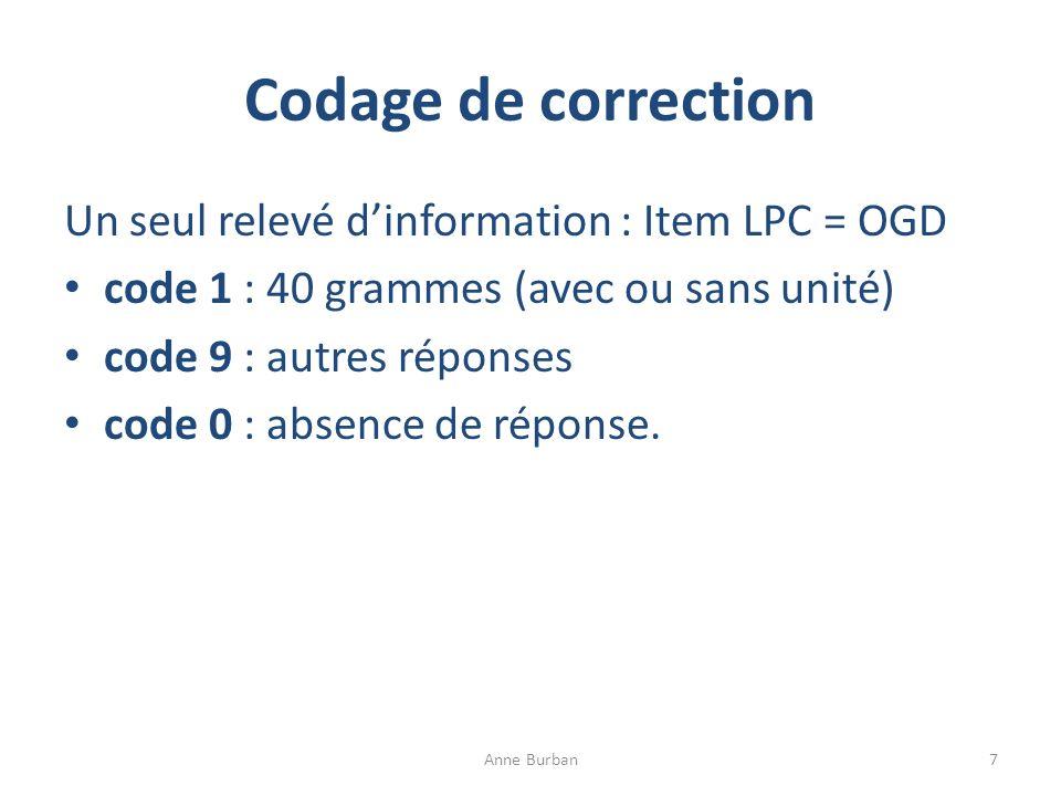 Codage de correction Un seul relevé dinformation : Item LPC = OGD code 1 : 40 grammes (avec ou sans unité) code 9 : autres réponses code 0 : absence d